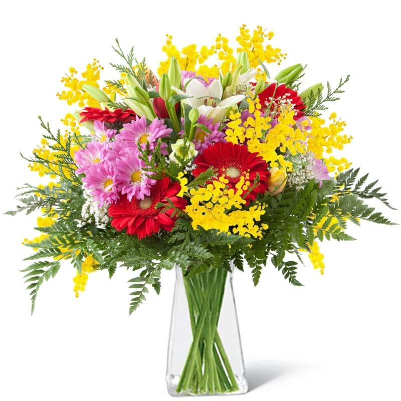 Spedire fiori misti con mimosa in vaso