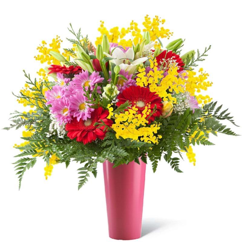 Spedire fiori misti con mimosain vaso rosa