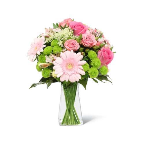 Spedire fiori misti rosa con vaso