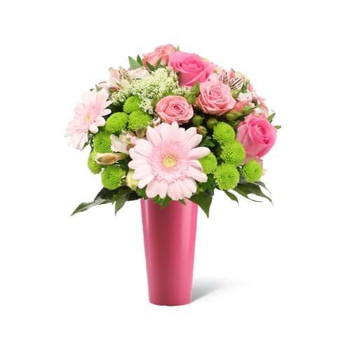 Spedire fiori misti rosa con vaso rosa