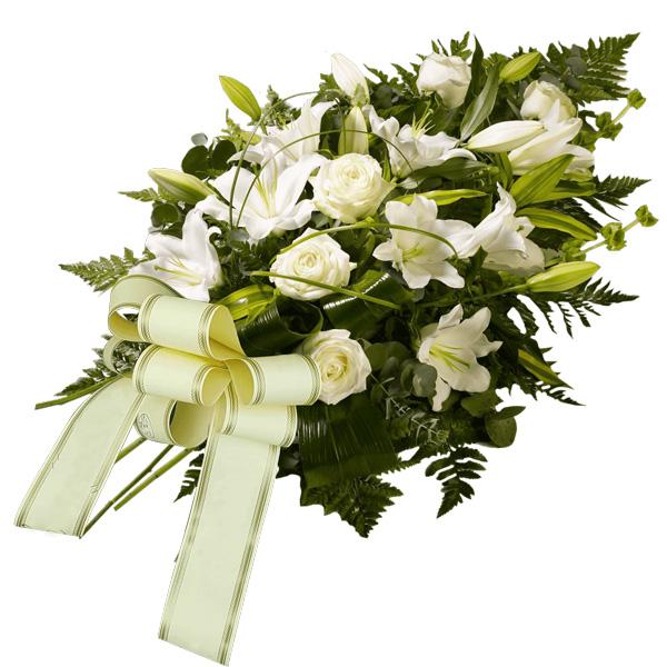 Consegna fiori per lutto fascio funebre bianco