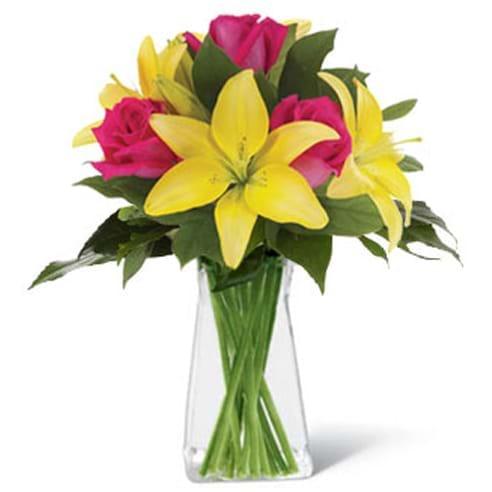 Spedire lilium gialli e rosa in vaso