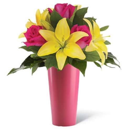 Spedire lilium gialli e rosa in vaso rosa