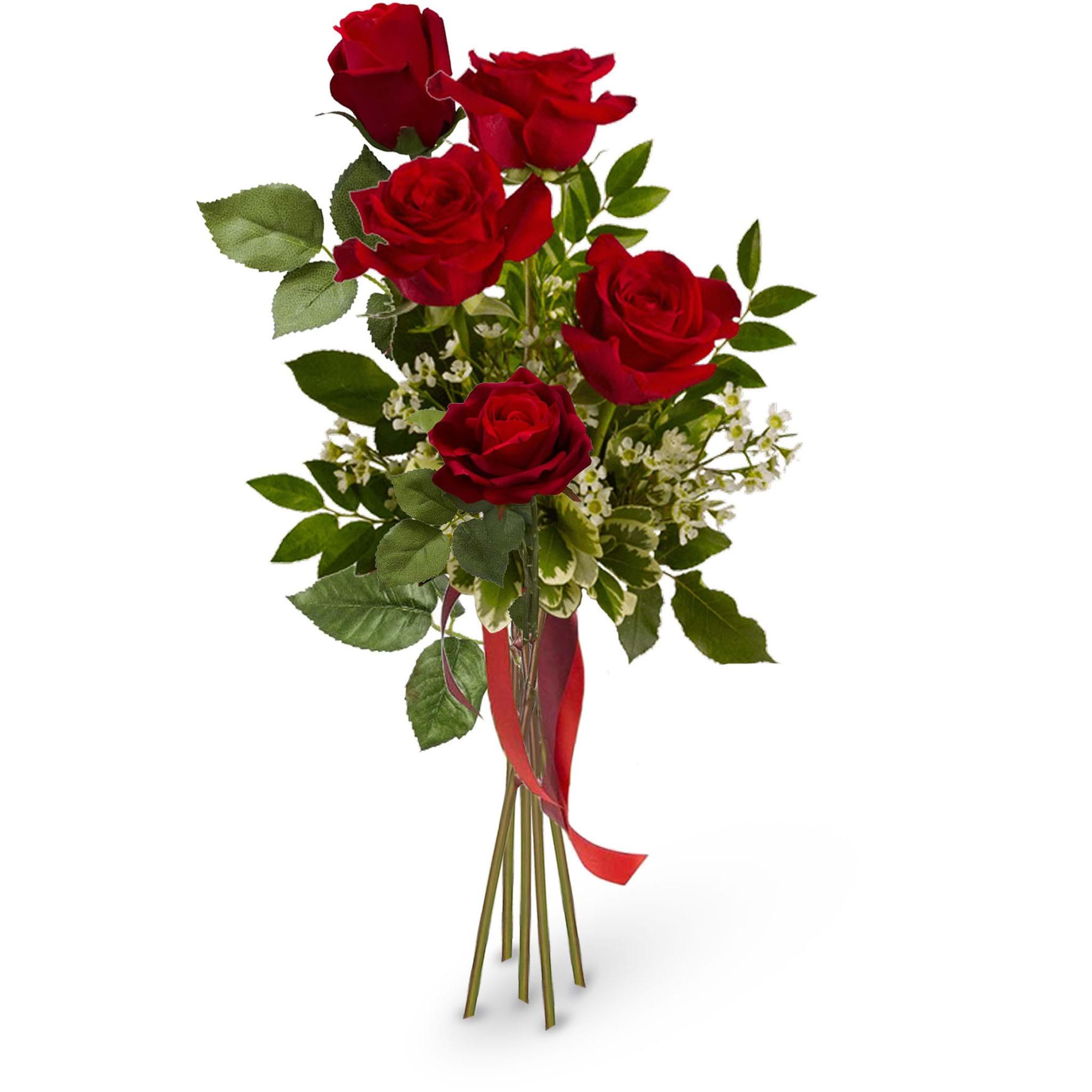 Spedire mazzo di 5 rose rosse