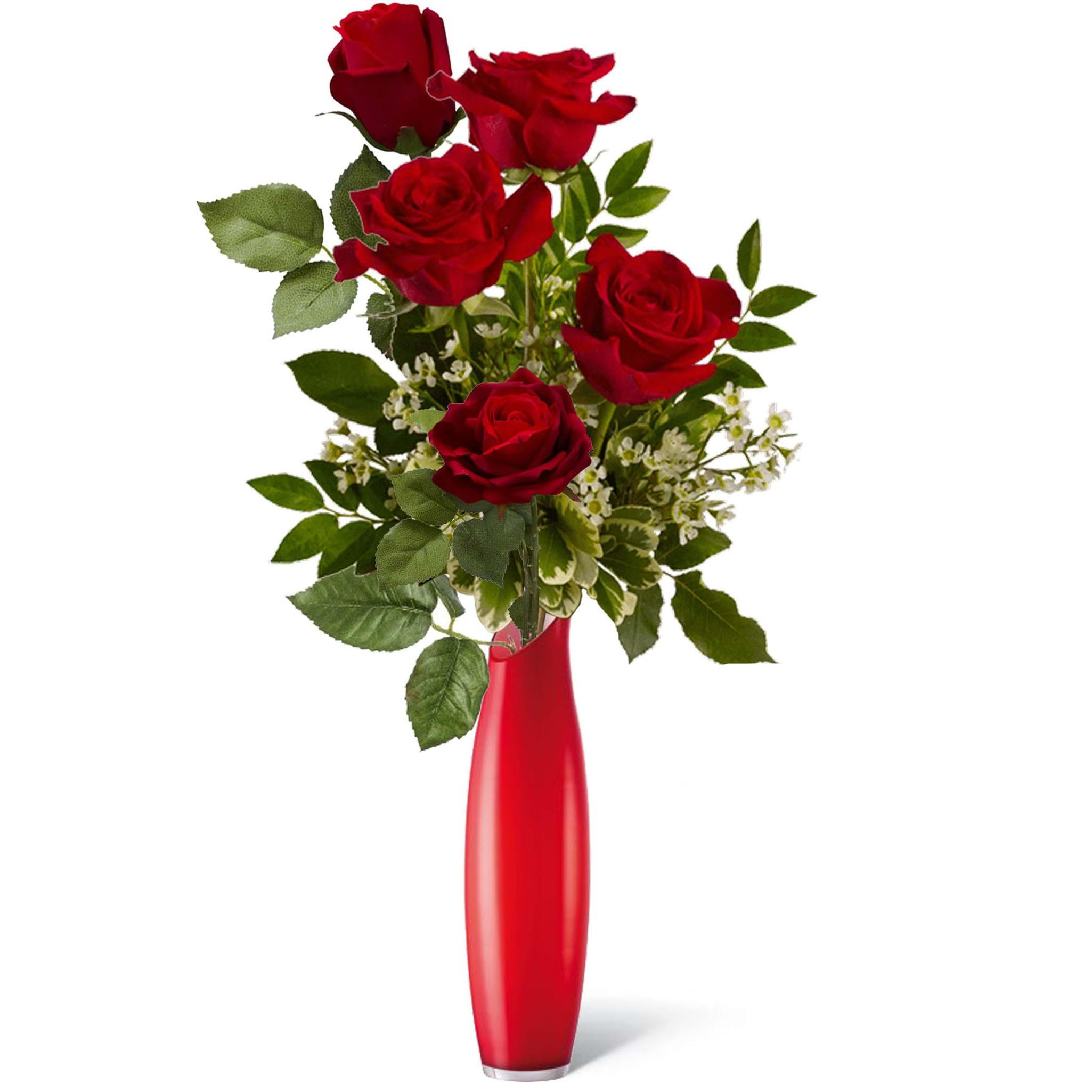 Spedire mazzo di 5 rose rosse in vaso rosso