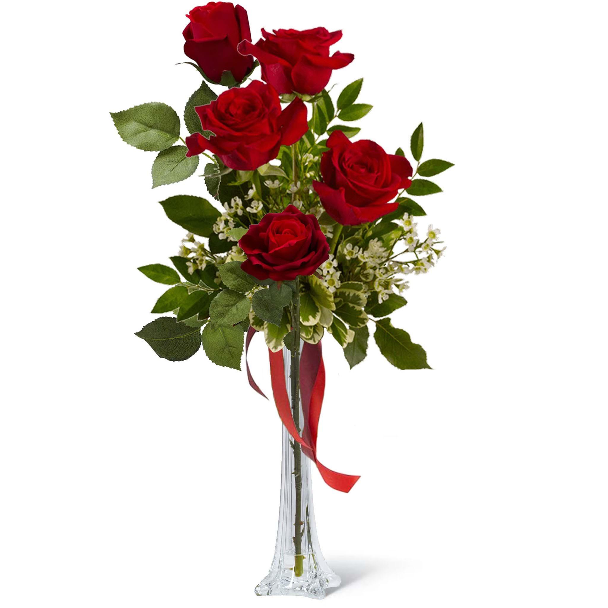 Spedire mazzo 5 rose rosse in vaso