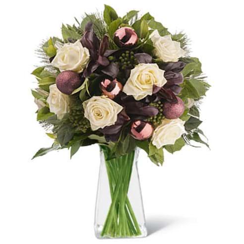 Spedire rose bianche natale in vaso