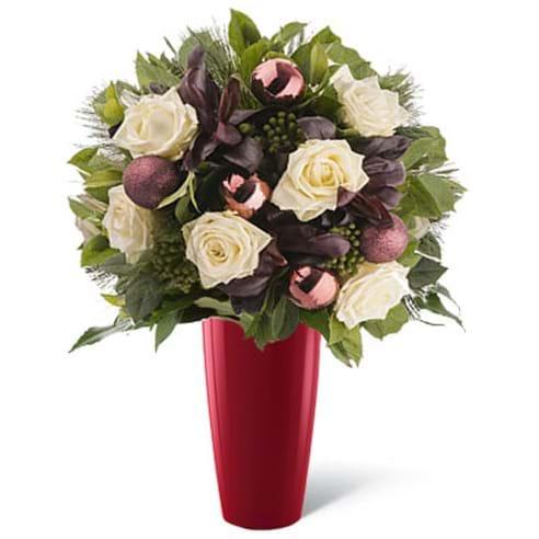Spedire rose bianche natale in vaso rosso