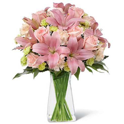 Spedire rose e lilium rosa in vaso