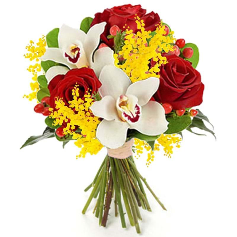 Spedire rose_e_orchidee_con_mimosa