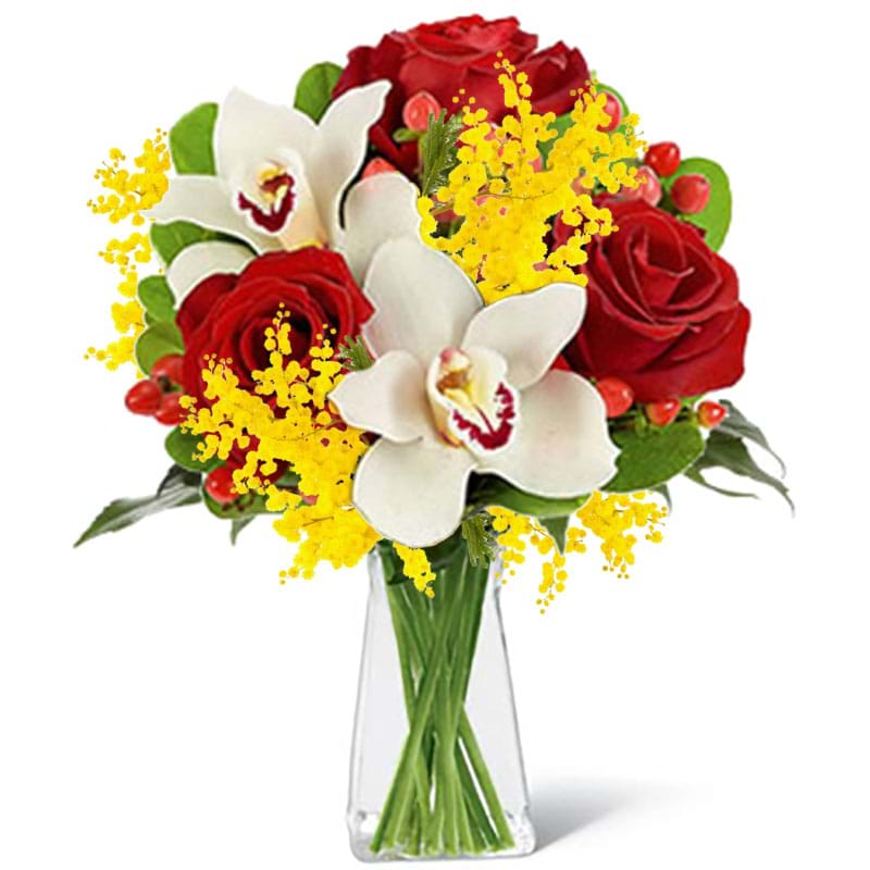 Spedire rose_e_orchidee_con_mimosa_in_vaso