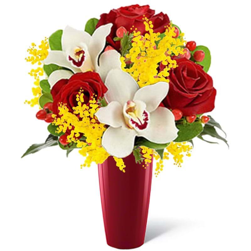 Spedire rose_e_orchidee_con_mimosa_in_vaso_rosso