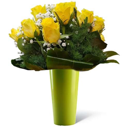 Spedire rose gialle in vaso