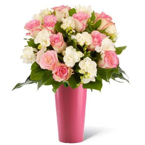 Spedire rose rosa e fresie in vaso rosa