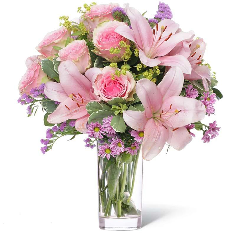 Spedire rose rosa e gigli in vaso