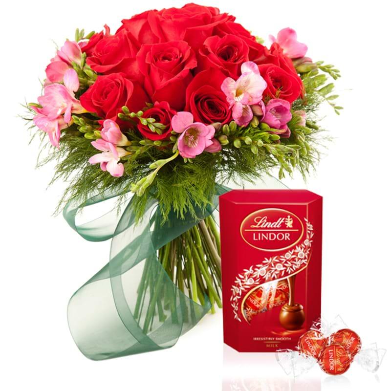 Spedire rose rosse con cioccolatini lindt