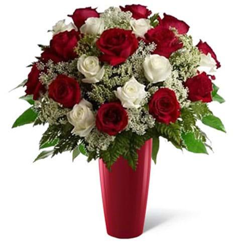 Spedire rose rosse e bianche in vaso rosso