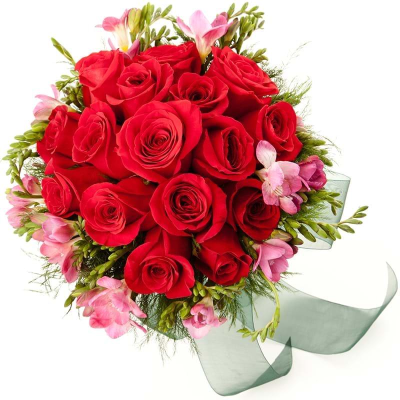 Spedire rose rosse e fresie vista alto