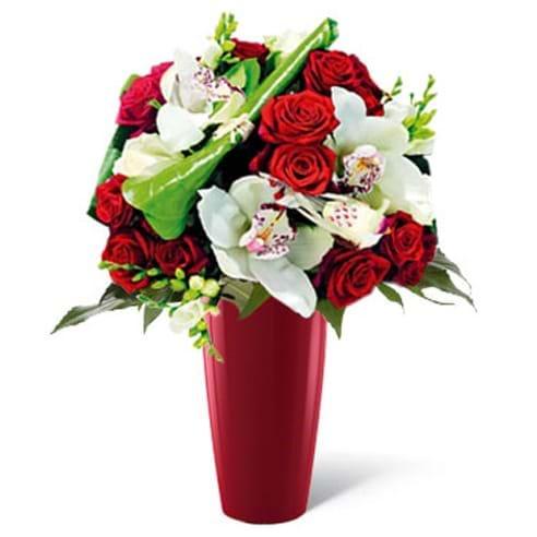 Spedire rose rosse e orchidee in vaso rosso