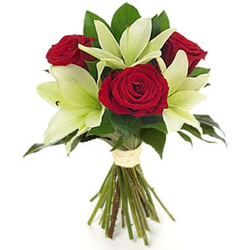 Spedire tre rose rosse e lilium
