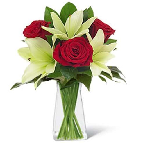 Spedire tre rose rosse e lilium in vaso